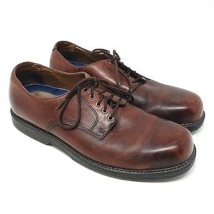 DOCKERS Leather Lace Up Brown Oxford Loafers Mens